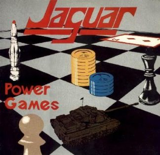 """JAGUAR (UK) - """"Power Games"""" - Limited Audiophile Black Vinyl LP with 425gsm heavy cardboard cover, lyric sheet printed on uncoated paper, 12 page A4 booklet, 2 x poster, bonus 7"""" with p/s + lyric sheet, A5 photo card 1983 - High Roller Records"""