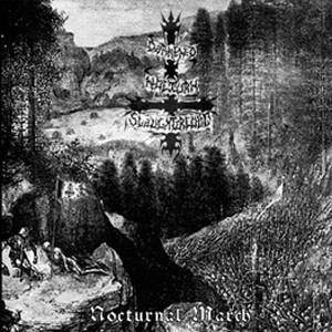 "DARKENED NOCTUN SLAUGHTERCULT (Germany) - ""Nocturnal March"" - Limited Gatefold Red Galaxy LP 2004 - Osmose Productions"